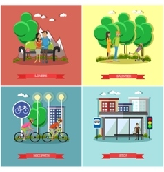 People in park concept banners set Time vector