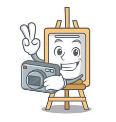 Photographer easel mascot cartoon style vector