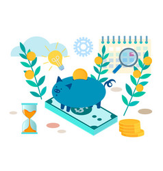 piggy bank and office supplies vector image