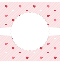 Pink template card with red hearts vector