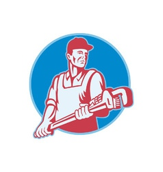 Plumber worker monkey wrench retro vector