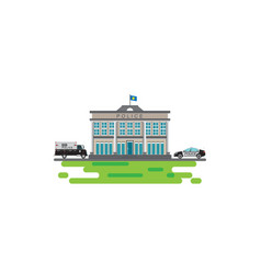 police station with prison bus icon isolated on vector image