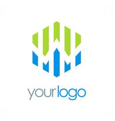 Polygon business chart logo vector