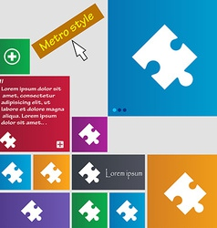 Puzzle piece icon sign Metro style buttons Modern vector