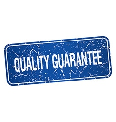 Quality guarantee blue square grunge textured vector