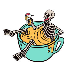 relaxing skull in a cup vector image