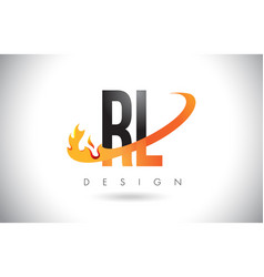 Rl r l letter logo with fire flames design and vector