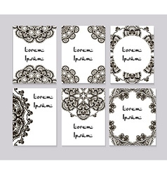 Round mehendi henna patterns drawn doodle set vector