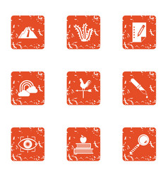 Sense of sight icons set grunge style vector