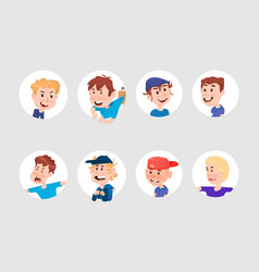 set boys avatars cute characters flat style vector image
