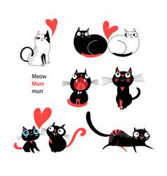 set enamored cats vector image