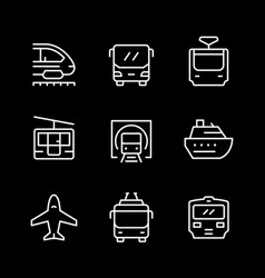 set line icons public transport vector image