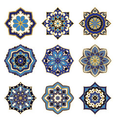Set of blue mandalas vector