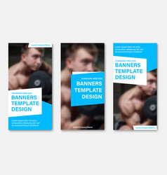 set of web banners with place for photo white and vector image