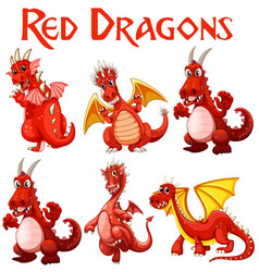Set red dragon character vector