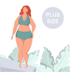 Sexy plus size woman demonstrating lingerie vector