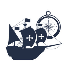 Ship sails cross with flags and compass vector