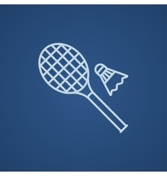 Shuttlecock and badminton racket line icon vector image