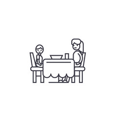 Son and mom having dinner line icon sign vector