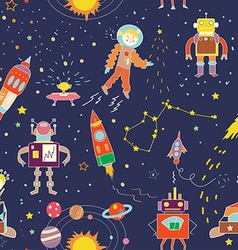 Space funny seamless pattern for kids vector