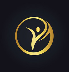 Success woman beauty sport round gold logo vector