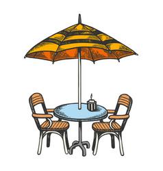 summer cafe color sketch engraving vector image