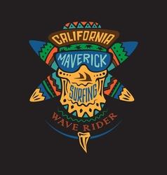 Surfing skull maverick color vector image