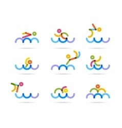 Swimming colorfu icons vector