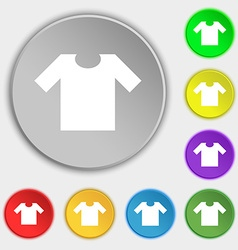 T-shirt icon sign Symbol on eight flat buttons vector