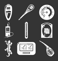thermometer indicators icons set grey vector image