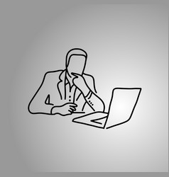 thinking businessman at the front of computer vector image