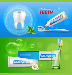 Tooth dental realistic banners vector