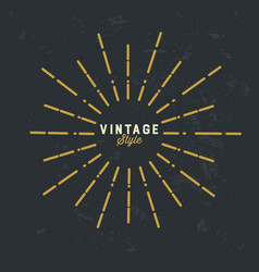 vintage gold sunburst design element on grunge vector image