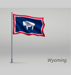 Waving flag wyoming - state united states vector