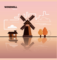 windmill landscape vector image
