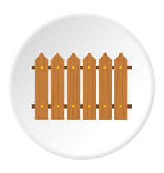 Wooden fence icon circle vector