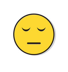 Yellow sad face negative people emotion icon vector
