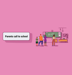Young parent with son at school teacher-parent vector