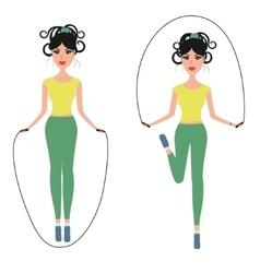 Beautiful girl jumping rope vector image vector image