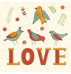 Beautiful love card with birds vector image