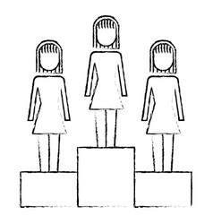 Businesswomen in podium competition success vector