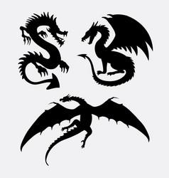 dragon fantasy monster design silhouette vector image