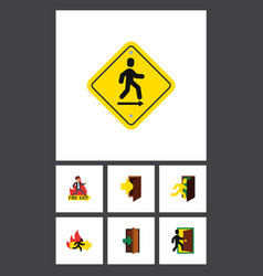 Flat icon emergency set of direction pointer vector