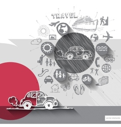 Hand drawn car icons with icons background vector image vector image