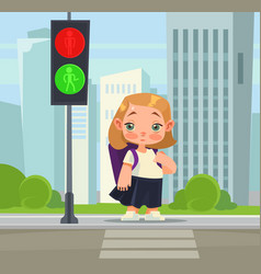 little school girl crossing pedestrian vector image vector image