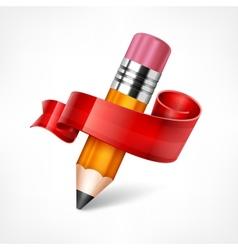 Pencil Ribbon Wooden vector image