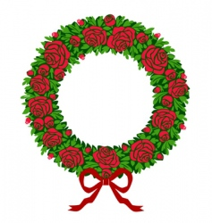 red roses wreath vector image vector image