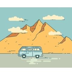 Road trip flat line vector image vector image