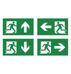 fire exit icon set vector image vector image