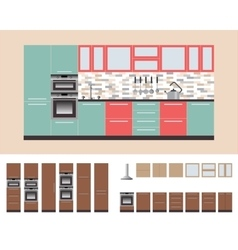 Kitcnen Cabinets with Kitchen EquipmentOven vector image